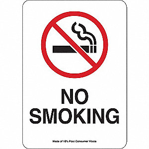 No Smoking Sign,No Smoking,Al,14in.H