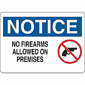 Notice Sign,No Firearms Allowed,Al