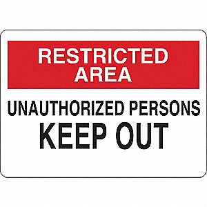 "Authorized Personnel and Restricted Access, Restricted Area, Aluminum, 10"" x 14"", Surface"