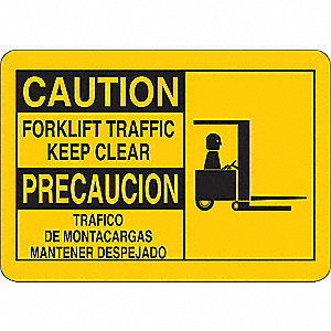 "Lift Truck Traffic, Caution, Vinyl, 7"" x 10"""