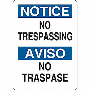 "Trespassing and Property, Notice, Vinyl, 7"" x 5"", Adhesive Surface"