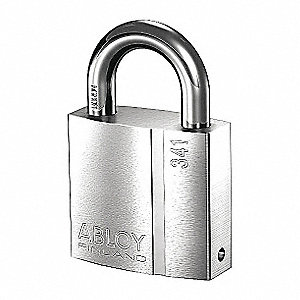 "Government Padlock, Open Shackle Type, 1"" Shackle Height, Chrome"