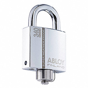 "2-5/64""H Different-Keyed Padlock, Shackle Type: Open 1""H x 3/8"", Silver"