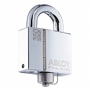 "2-5/64""H Different-Keyed Padlock, Shackle Type: Open 1""H x 17/32"", Silver"