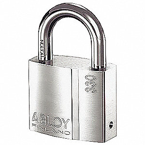 "1-37/64""H Alike-Keyed Padlock, Shackle Type: Open 1""H x 5/16"", Silver"