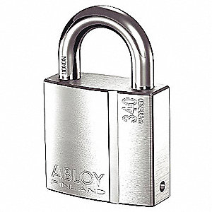 "2-5/64""H Alike-Keyed Padlock, Shackle Type: Open 1""H x 3/8"", Silver"