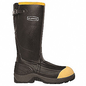 "16""H Men's Rubber Boots, Composite Toe Type, Rubber Over Neoprene Upper Material, Black, Size 13"