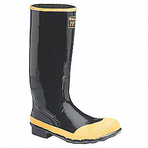 "16""H Men's Rubber Boots, Steel Toe Type, Rubber Upper Material, Black, Size 7"