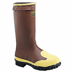 "16""H Men's Rubber Boots, Steel Toe Type, Rubber Upper Material, Brick Red, Size 10"