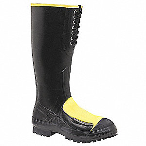 "16""H Men's Rubber Boots, Steel Toe Type, Rubber Upper Material, Black, Size 10"