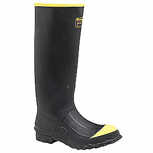 "16""H Men's Rubber Boots, Steel Toe Type, Rubber Upper Material, Black, Size 9"