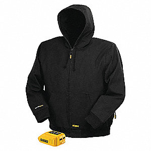 JACKET HEATED W/HOOD BLK BARE, S