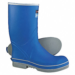 "13""H Men's Boots, Steel Toe Type, Natural Rubber Upper Material, Blue, Size 10"