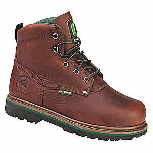 "6""H Men's Work Boots, Steel Toe Type, Leather Upper Material, Dark Brown, Size 16M"