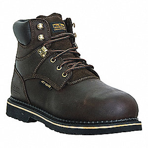 "6""H Men's Work Boots, Steel Toe Type, Leather Upper Material, Dark Brown, Size 6W"