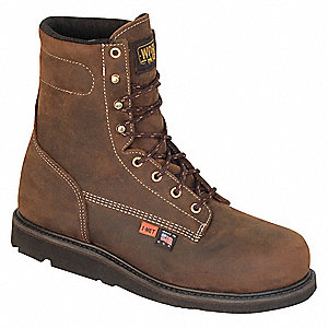 "8""H Men's Work Boots, Steel Toe Type, Leather Upper Material, Brown, Size 9-1/2E"