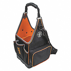 "20-Pocket Polyester Electricians Tool Tote, 17""H x 8-3/4""W x 8-3/4""D, Black"