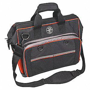 "78-Pocket Polyester Electricians Wide-Mouth Tool Bag, 14""H x 17-1/2""W x 10""D, Black"