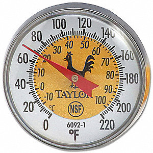 Thermometer,Yellow Coded,0 to 220F