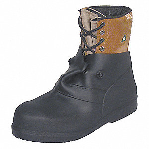 "6""H Men's Overboots, Plain Toe Type, Rubber Upper Material, Black, Fits Shoe Size 15 to 16"