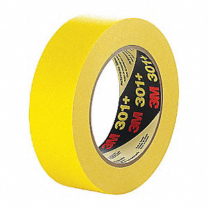 Paper Masking Tape, Rubber Tape Adhesive, 6.30 mil Thick, 24mm X 55m, Yellow, 1 EA