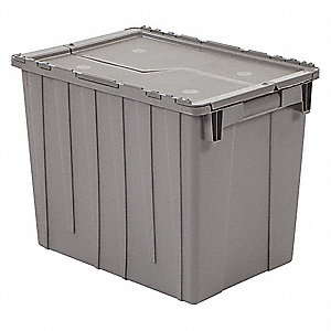 Attached Lid Container,2.2 cu. ft.,Gray