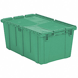 Attached Lid Container,2.3 cu. ft.,Green