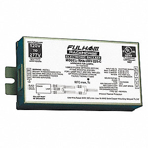Electronic CFL Ballast, 59 Max. Lamp Watts, 120 to 277 V, Programmed Ballast Start Type