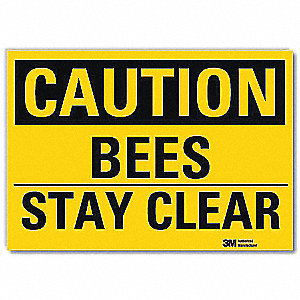 Safety Sign,Bees Stay Clear,7in.Hx10in.W