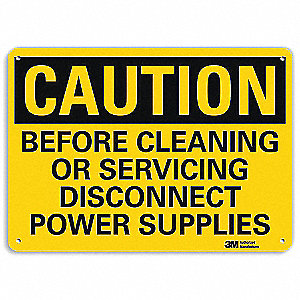 Safety Sign,Dscnnct Pwr Supplies,7in.H