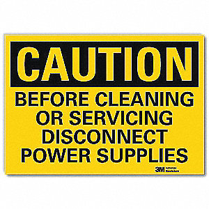 "Cleaning and Maintenance, Caution, Vinyl, 10"" x 14"", Adhesive Surface, Engineer"