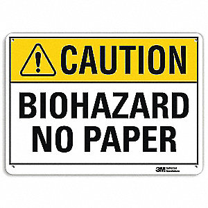 Biohazard Sign,Corner Holes,10inHx14inW
