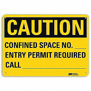 Safety Sign,Permit Required,10in.H