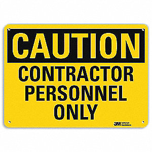 "Employees and Visitors, Caution, Recycled Aluminum, 10"" x 14"", With Mounting Holes"