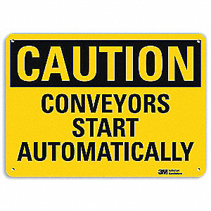 "Conveyors, Caution, Aluminum, 10"" x 14"", Engineer"