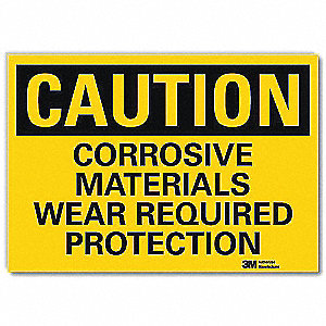 "Personal Protection, Caution, Vinyl, 10"" x 14"", Adhesive Surface, Engineer"