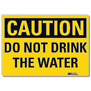 "Potable Water, Caution, Vinyl, 10"" x 14"", Adhesive Surface, Engineer"