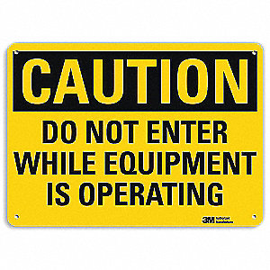 "Machine and Operational, Caution, Recycled Aluminum, 7"" x 10"", With Mounting Holes, Engineer"