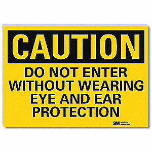 Safety Sign,Black/Yellow,10in.H x 14in.W