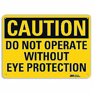 "Personal Protection, Caution, Aluminum, 10"" x 14"", With Mounting Holes, Engineer"