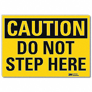 "Accident Prevention, Caution, Vinyl, 7"" x 10"", Adhesive Surface, Engineer"