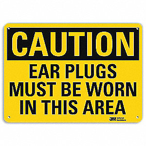 Safety Sign,Ear Plugs Worn,10in.H
