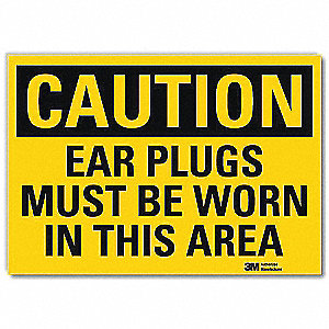 Safety Sign,Ear Plugs Worn,10in.W