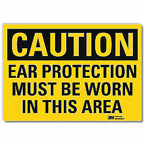 Safety Sign,Ear Protection Worn,10in.W