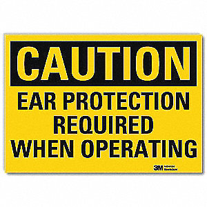 Safety Sign,Ear Protection,10in.W