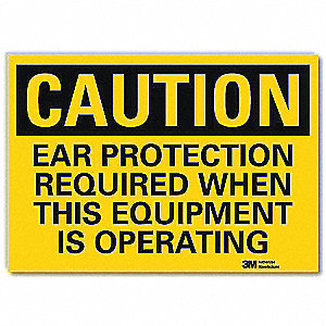 Safety Sign,Ear Prtctn Oprtng,5in.H
