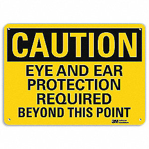 Safety Sign,Eye Ear Rqrd Point,7in.H