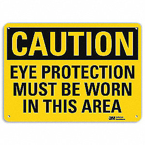 "Personal Protection, Caution, Aluminum, 10"" x 14"", Engineer"