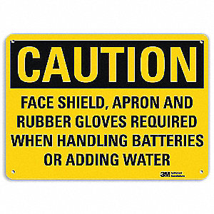 Safety Sign,Face Shield Required,10in.H