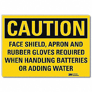 "Personal Protection, Caution, Vinyl, 5"" x 7"", Adhesive Surface, Engineer"